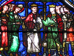 Becket talks with Henry II and Louis VII of France at Montmirail, Sens Cathedral